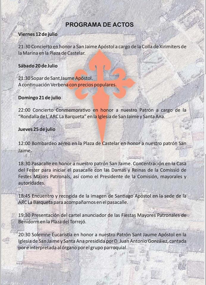 Fiestas San Jaime Sant Jaume Benidorm 2019 programa actos