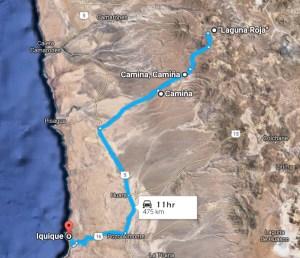 ¿Como llegar a lLaguna Roja, entrando por la quebrada de Camiña.
