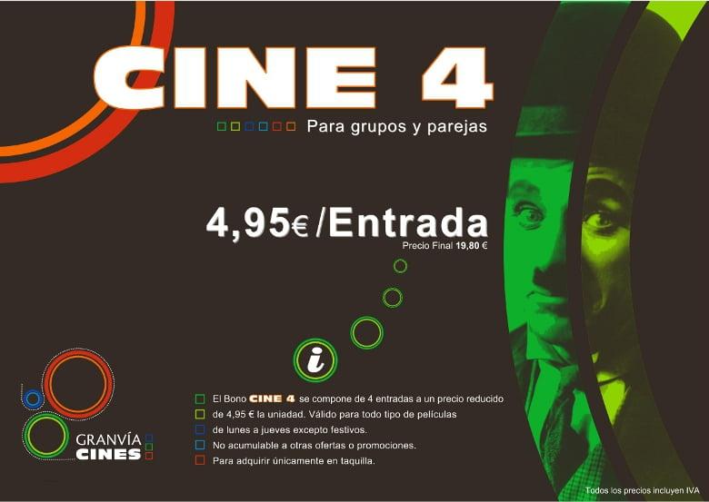 Bono Cines Gran Vía. 4 entradas por 19,80€