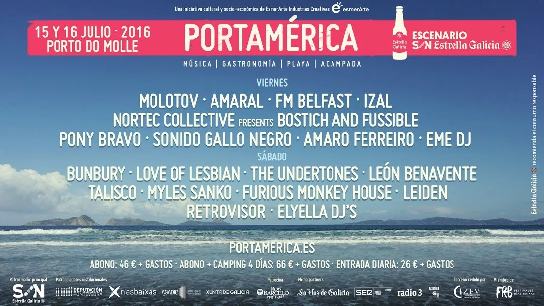 PortAmérica 2016: Bunbury, Molotov, Amaral, The Undertones, Love of Lesbian o FM Belfast