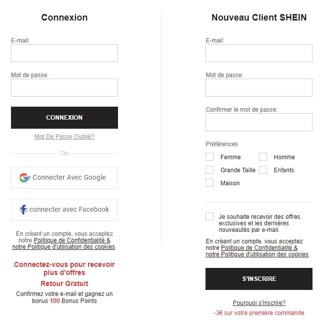Page création de compte SHEIN