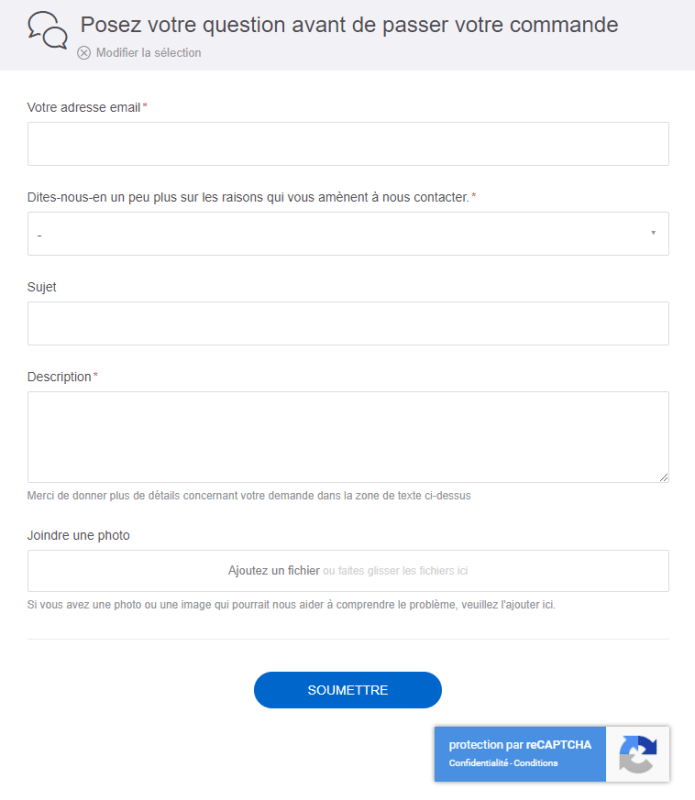 Formulaire contact service client Redbubble