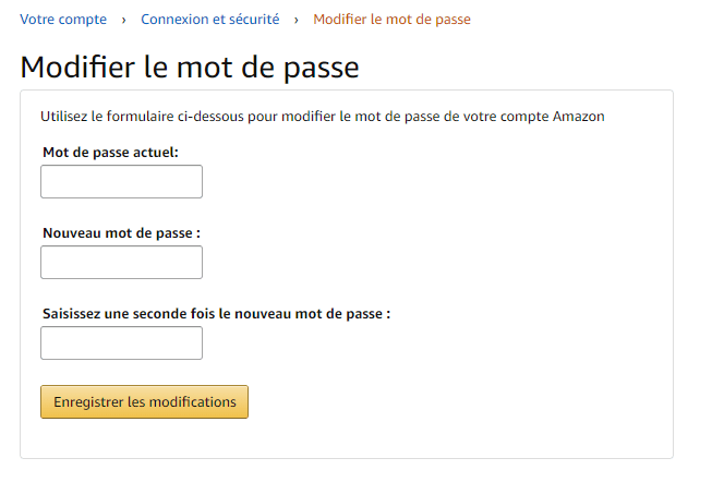 Modifier mot de passe Amazon