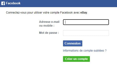 Créer compte Ebay avec Facebook