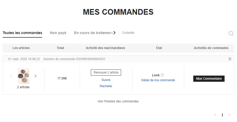 Page Mes Commandes SHEIN