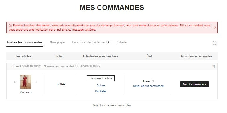 Mes commandes SHEIN