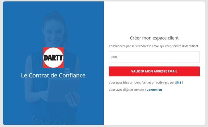 Créer espace client Darty