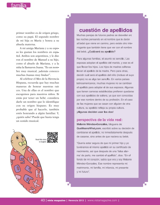 Quoted in Spanish on Keeping Your Maiden Name VISTA MAGAZINE