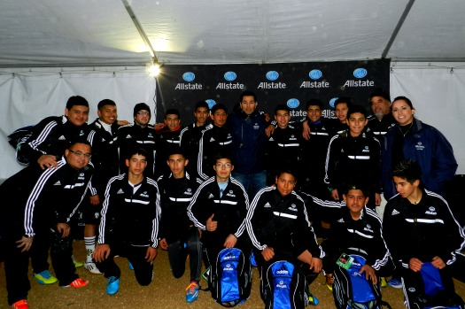 "Allstate and former Mexican National Team goalkeeper Martin ""El Pulpo"" Zuniga surprised the local youth team, Southside FC, with new soccer gear and tickets to the Mexico v. South Korea match"