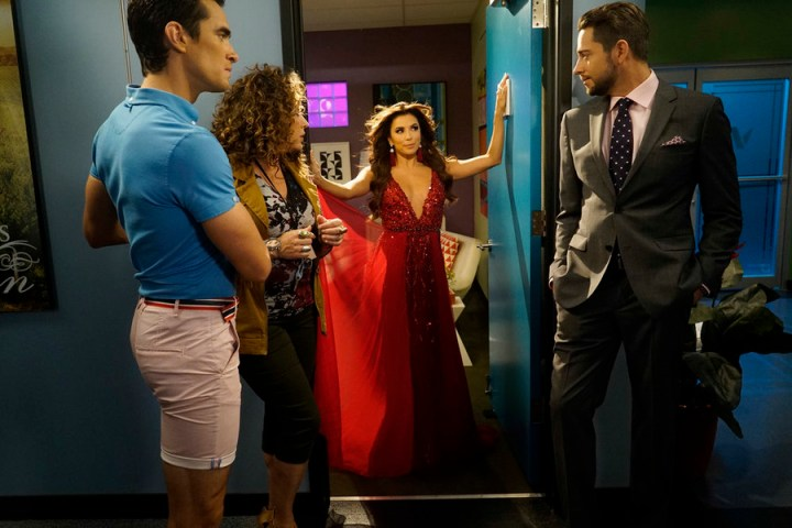 "TELENOVELA -- ""The Kiss"" Episode 103 -- Pictured: (l-r) Jose Moreno Brooks as Gael Garnica, Diana Maria Riva as Mimi Moncada, Eva Longoria as Ana Sofia Calderon, Zachary Levi as James McMann -- (Photo by: Vivian Zink/NBC)"