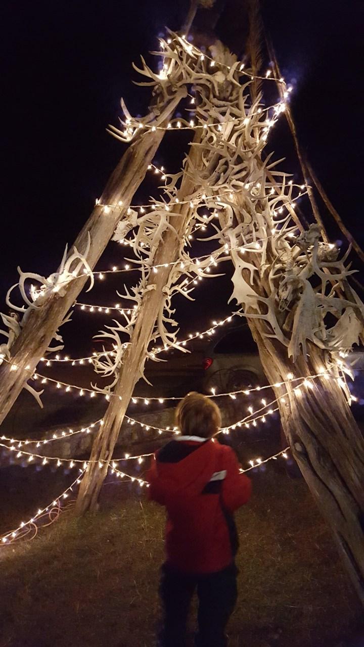 boy-admiring-ranch-decor-at-christmas-light-fest