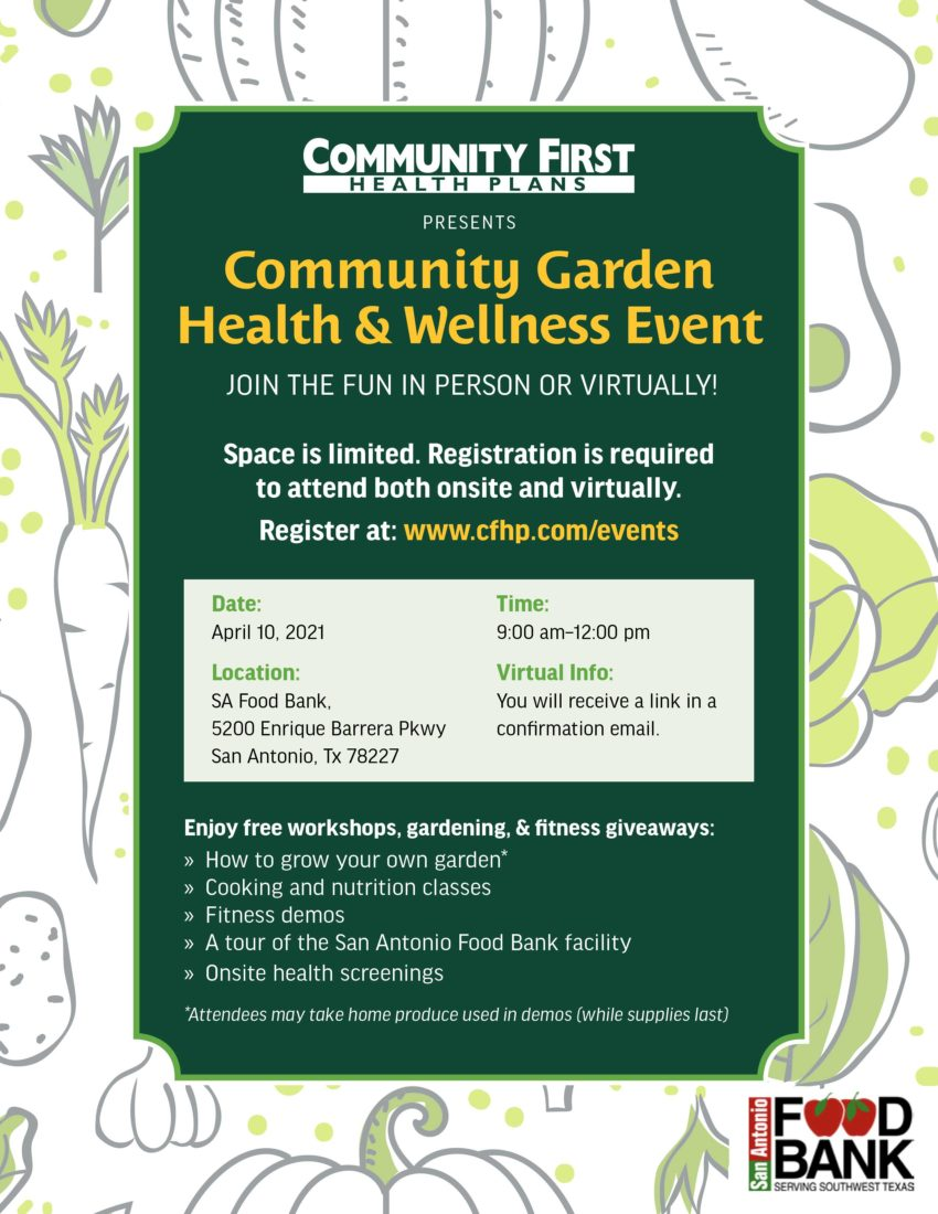 Learn Healthier Lifestyle Tips at the Community Garden Health and Wellness Event (Flyer)