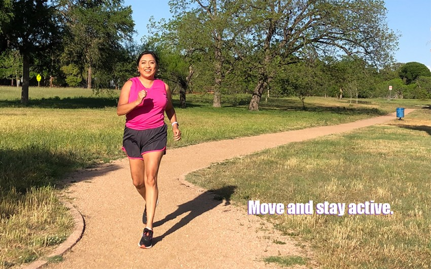 Melanie running at her local park trail - Learn Healthier Lifestyle Tips at the Community Garden Health and Wellness Event