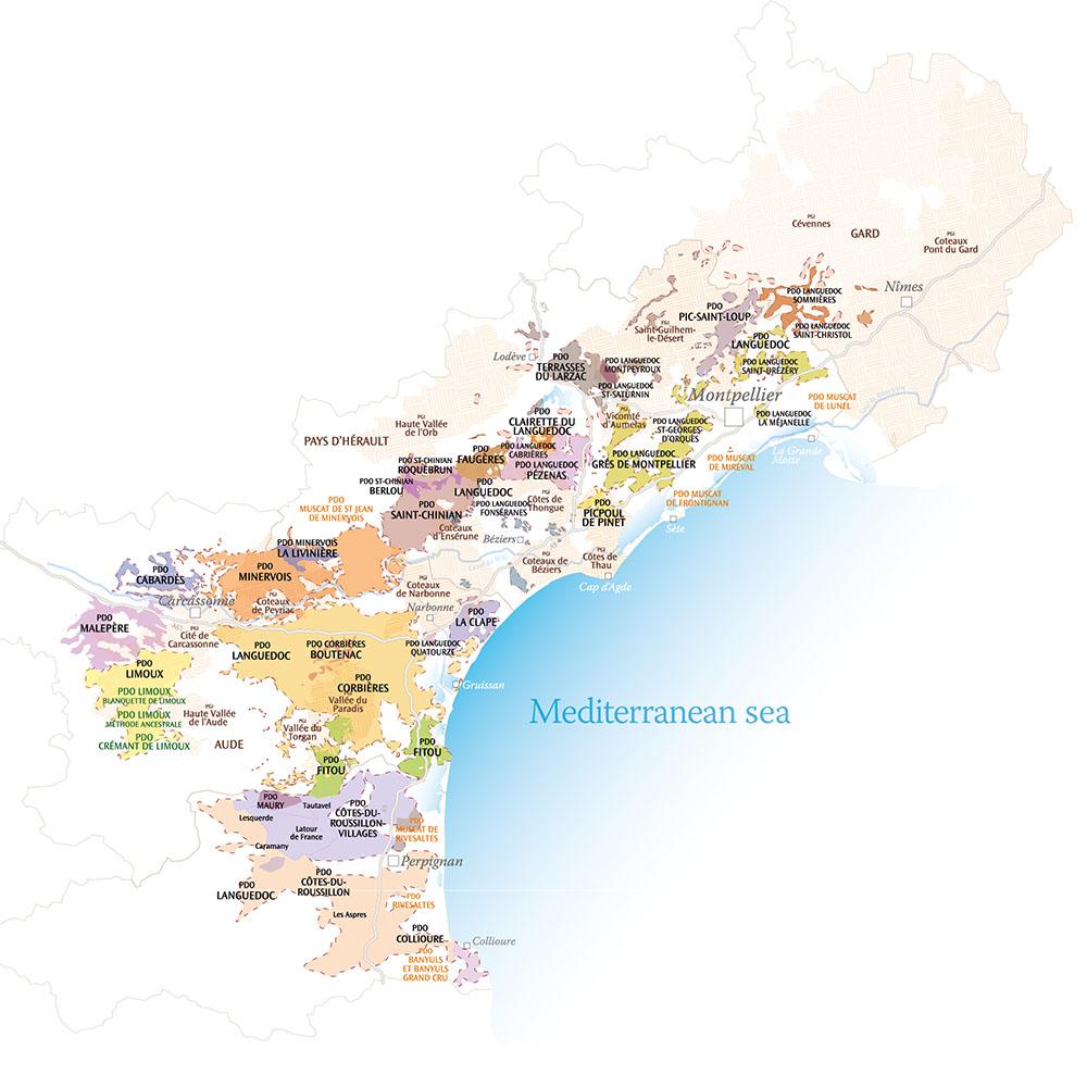 carte des aoc languedoc