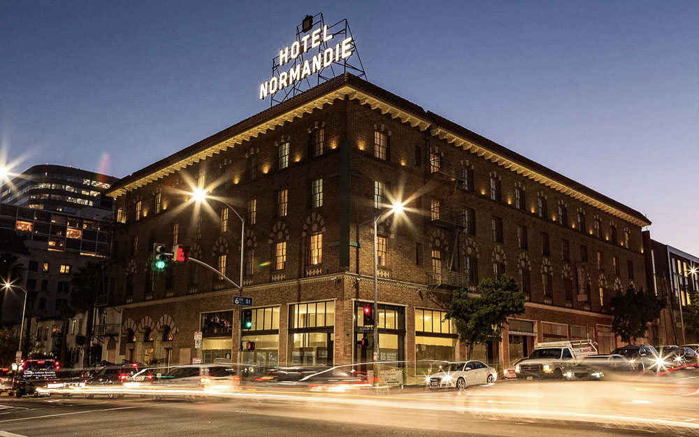 Southern California - Hotel Normandie Exterior lit up