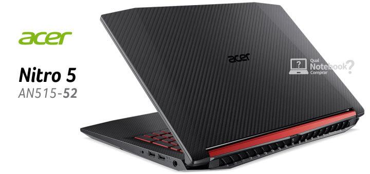 nova tapa do Notebook Acer NITRO 5 AN515-52 novo com oitava geração e SSD