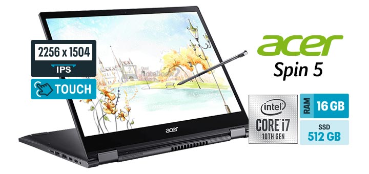 Acer Spin 5 SP513-54N-743J capa Intel Core i7 16 GB SSD 512 GB multitouch