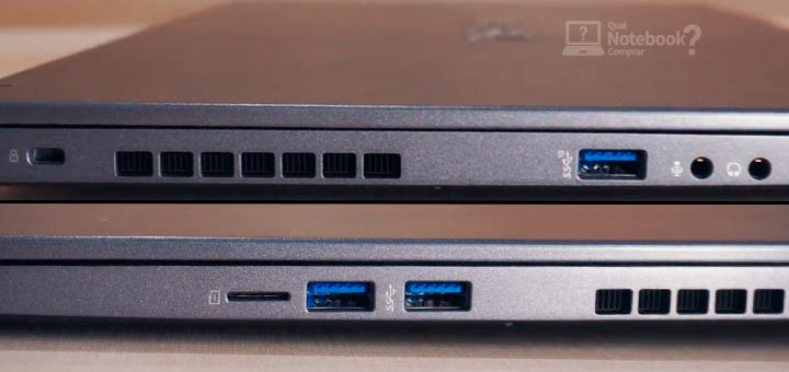 Unboxing Avell LIV A72 RTX 3060 USB HDMI trava de seguranca lado esquerdo e direito