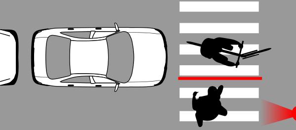 Paso cebra bloqueado, si fuera un auto se considera que se pasó el alto.