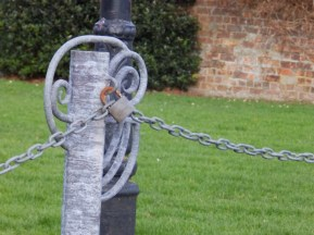 Fence post on village green