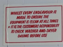 Notice in the Laundry at Sherwood