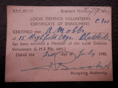 Home Guard Membership Card 1940
