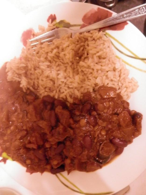 Burnt Aubergine Chilli with brown rice