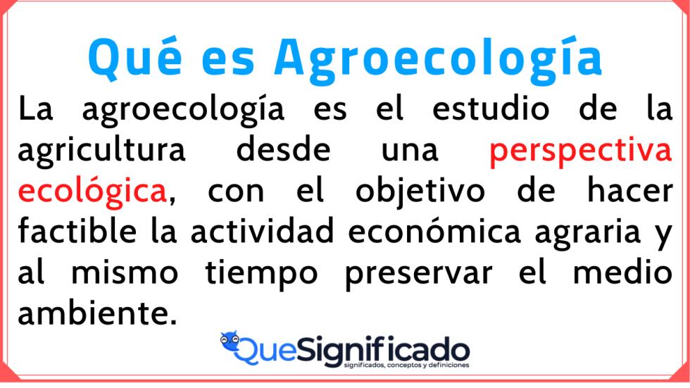 Agroecología Significado Concepto Definición