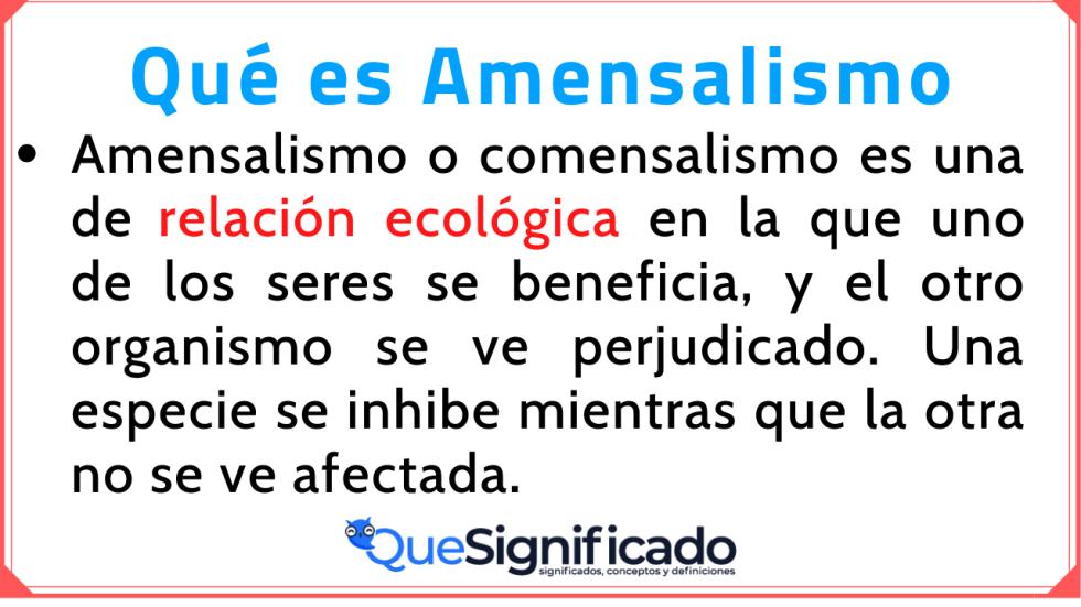 Amensalismo Significado Concepto Definición