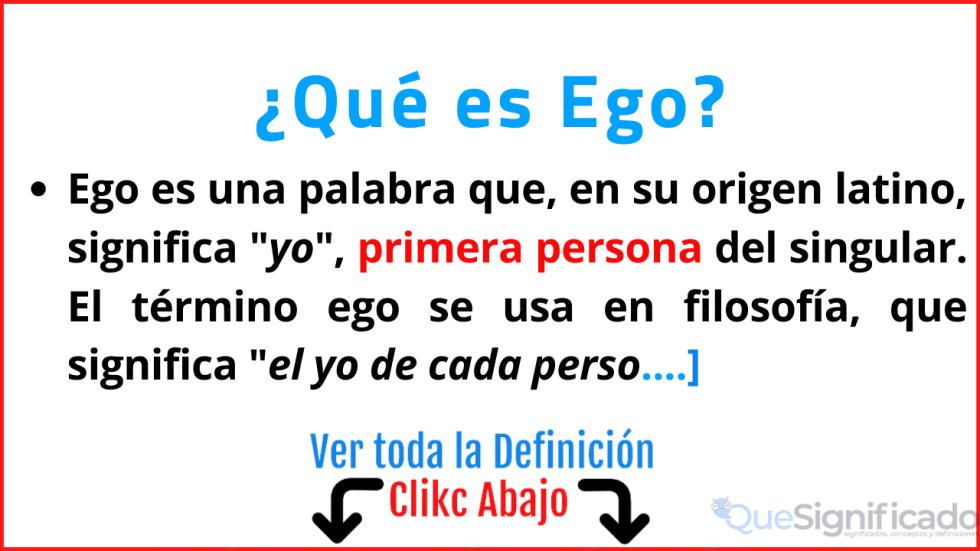 que es ego significado concepto definicion caracteristicas