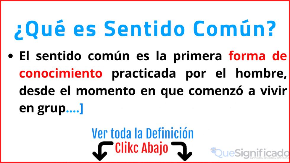 que es sentido comun significado concepto definicion ejemplos