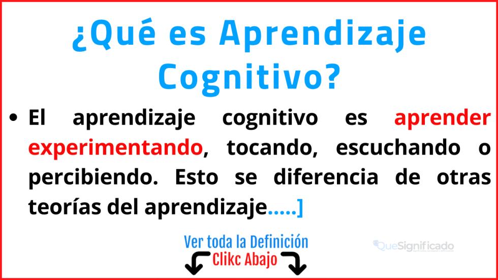 que es aprendizaje cognitivo