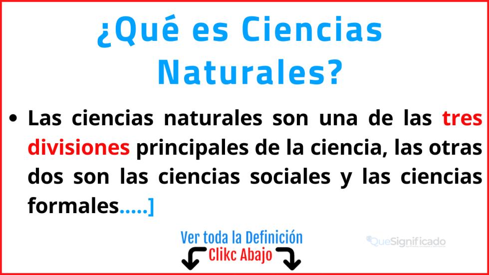 que es ciencias naturales