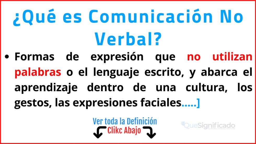 que es comunicación no verbal