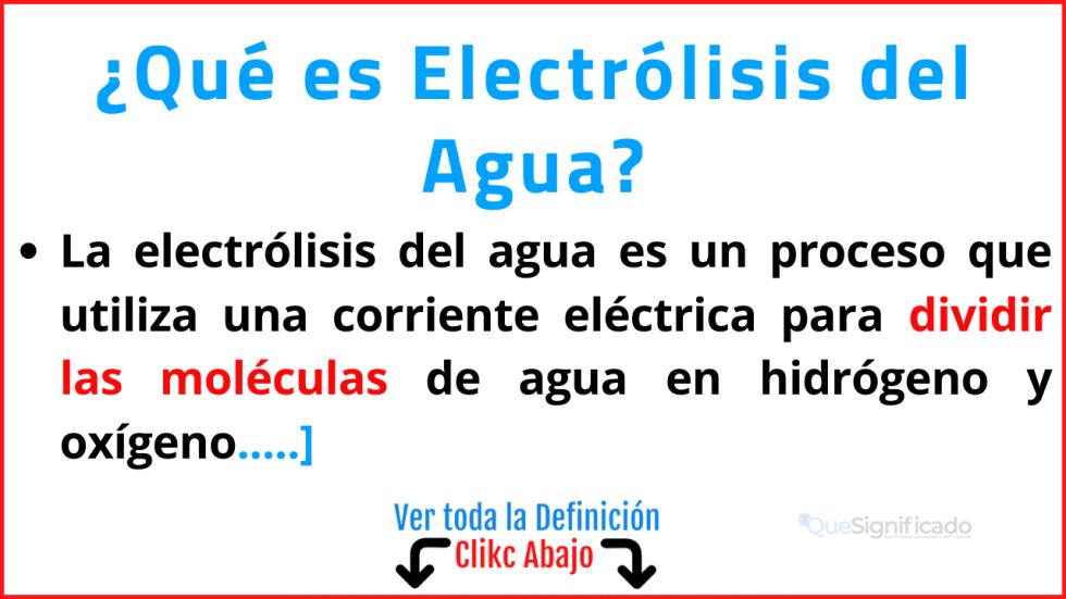 que es electrólisis del agua