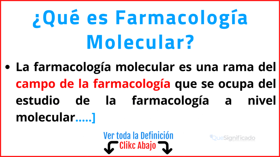 que es farmacología molecular