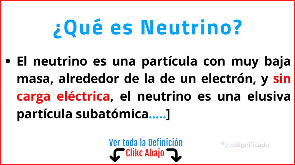 que es neutrino