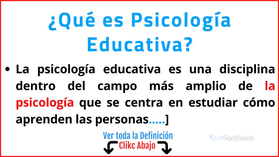 que es psicología educativa
