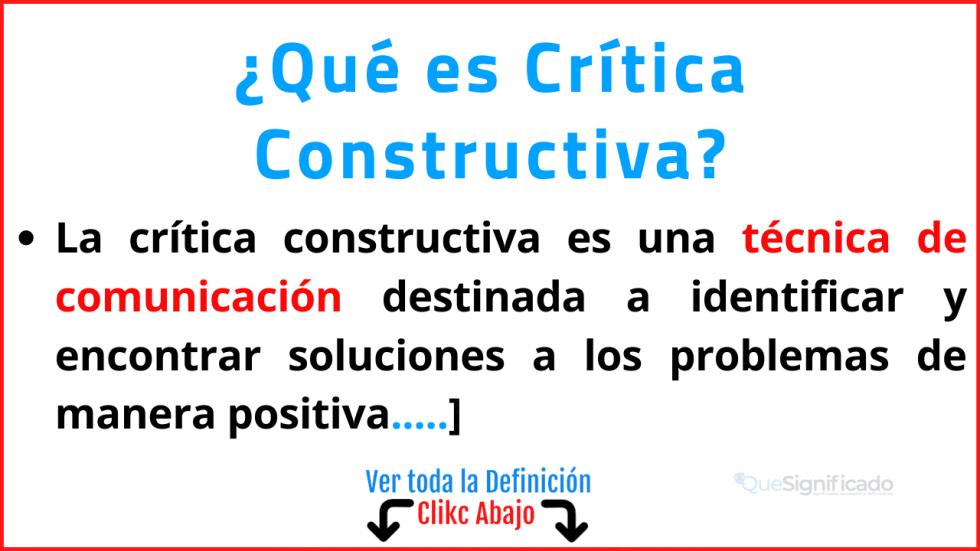 Qué es Crítica Constructiva