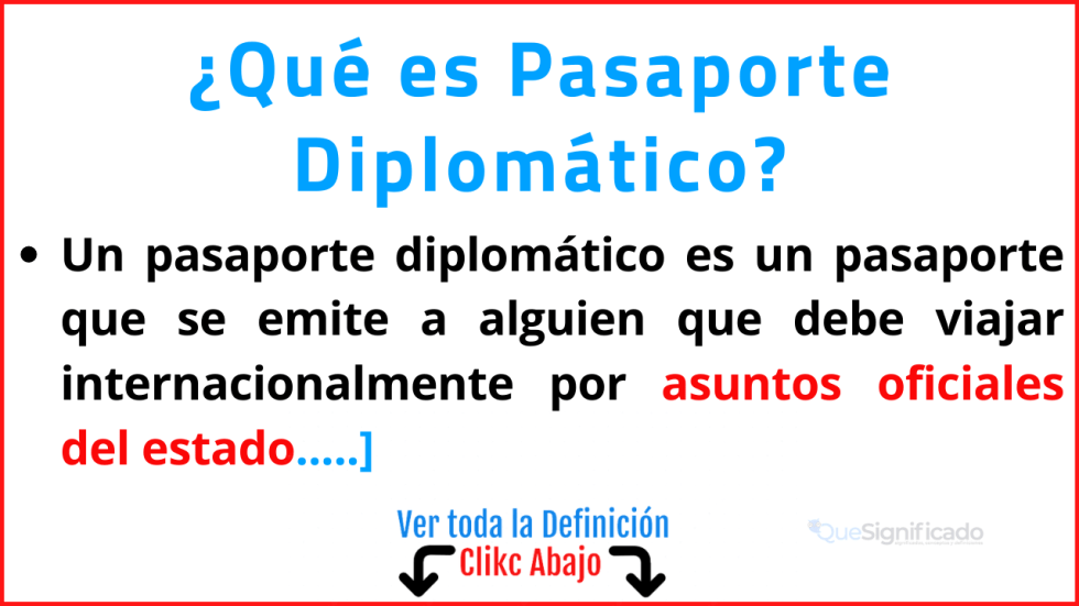 Qué es Pasaporte Diplomático