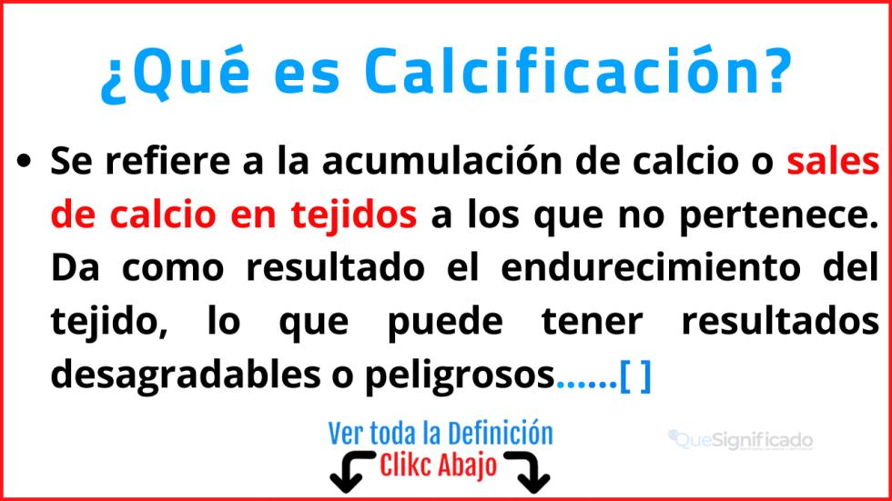 Qué es Calcificación