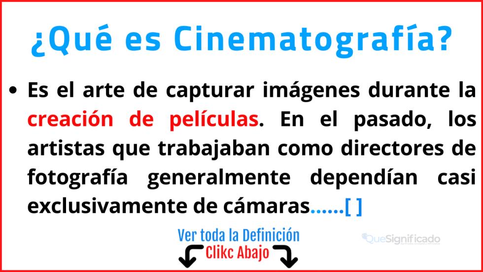 Qué es Cinematografía