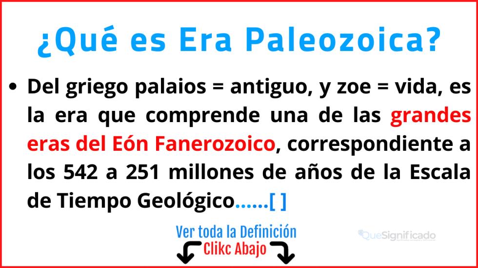 Qué es Era Paleozoica
