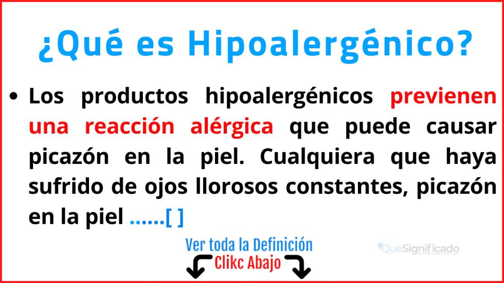 Qué es Hipoalergénico
