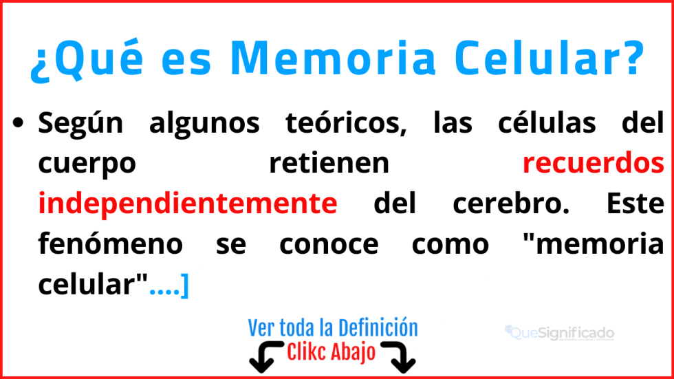Qué es Memoria Celular