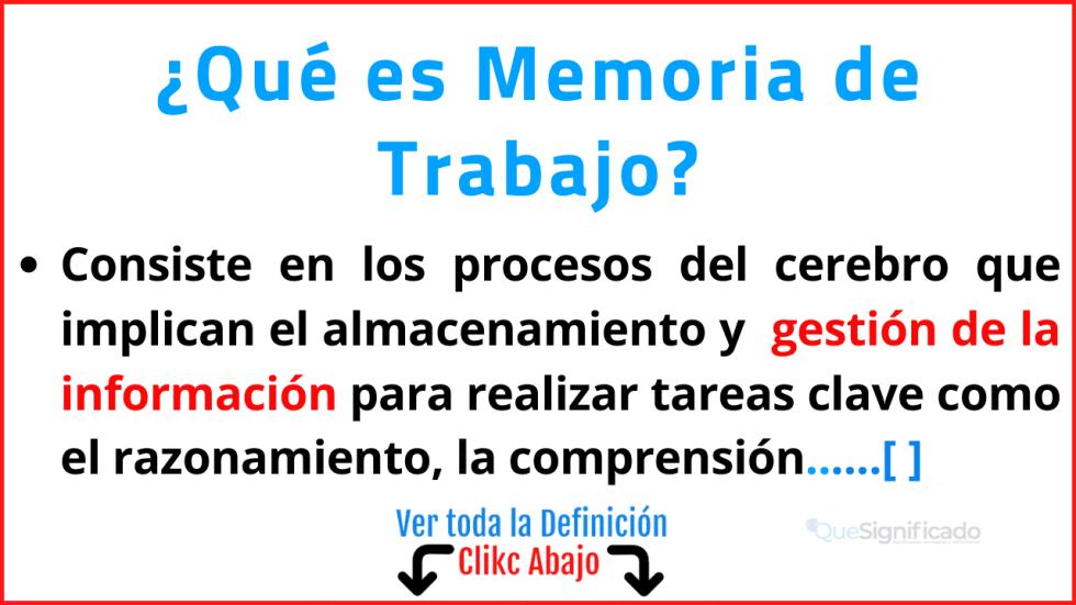 Qué es Memoria de Trabajo