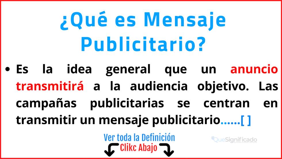 Qué es Mensaje Publicitario
