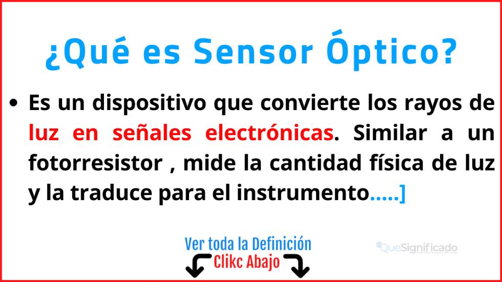 Qué es Sensor Óptico