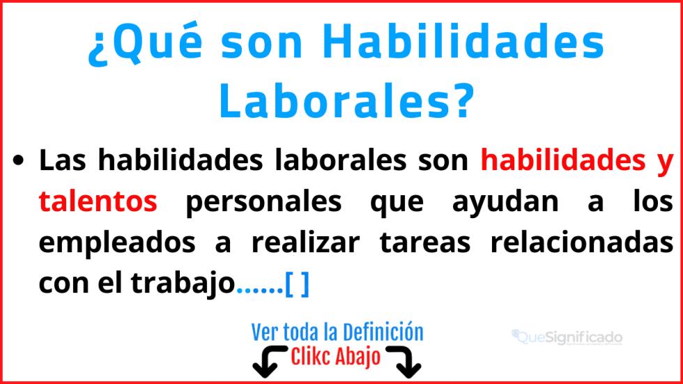 Qué son Habilidades Laborales