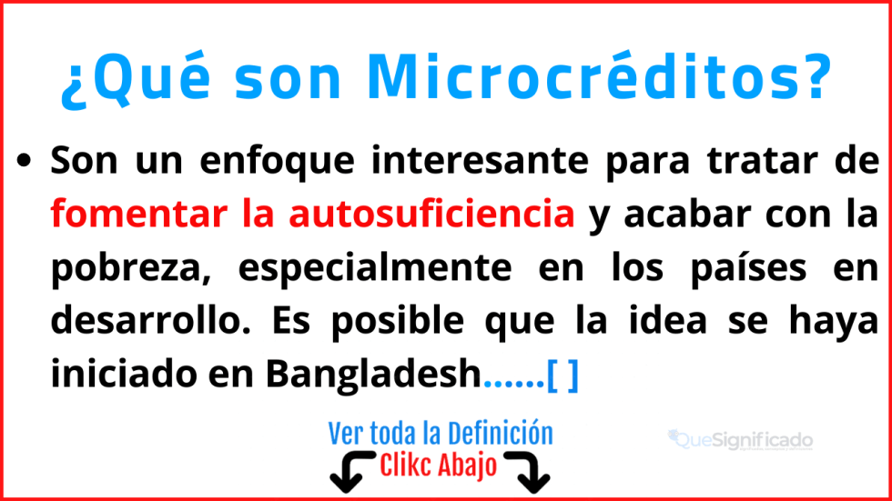 Qué son Microcréditos